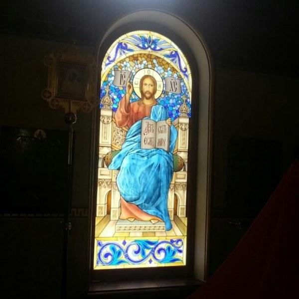 Подсветка витража в Храме